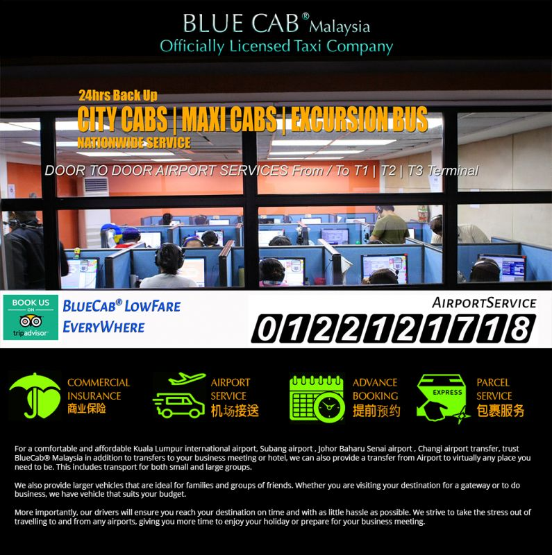 Blue Cab® Malaysia - Kuala Lumpur | Johor | Singpore Radio Hotline Taxi Cabs | BangTrade.com